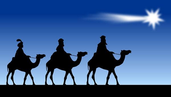 Los 3 Reyes Magos siguiendo a la estrella