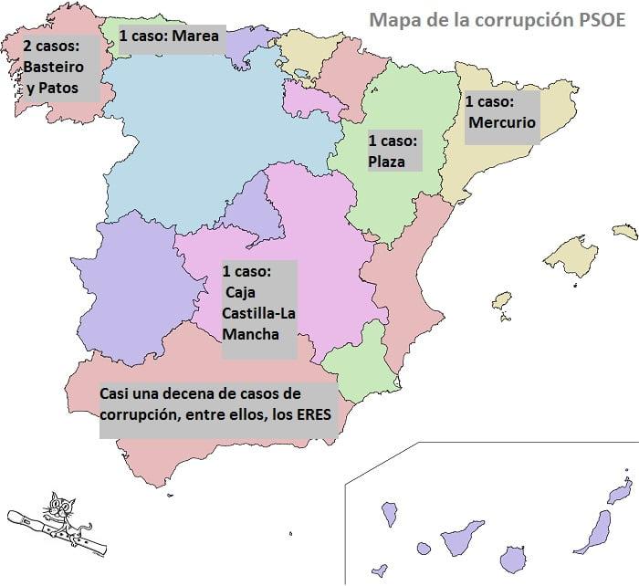 mapa corrupción psoe